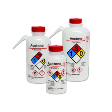 可通气UnitaryTM安全洗瓶,LDPE瓶体;PP或HDPE盖,PTFE滤膜,500ml容量,异丙醇,黄色瓶盖,24/箱,2436-0504,Nalgene,Thermofisher,赛默飞世尔